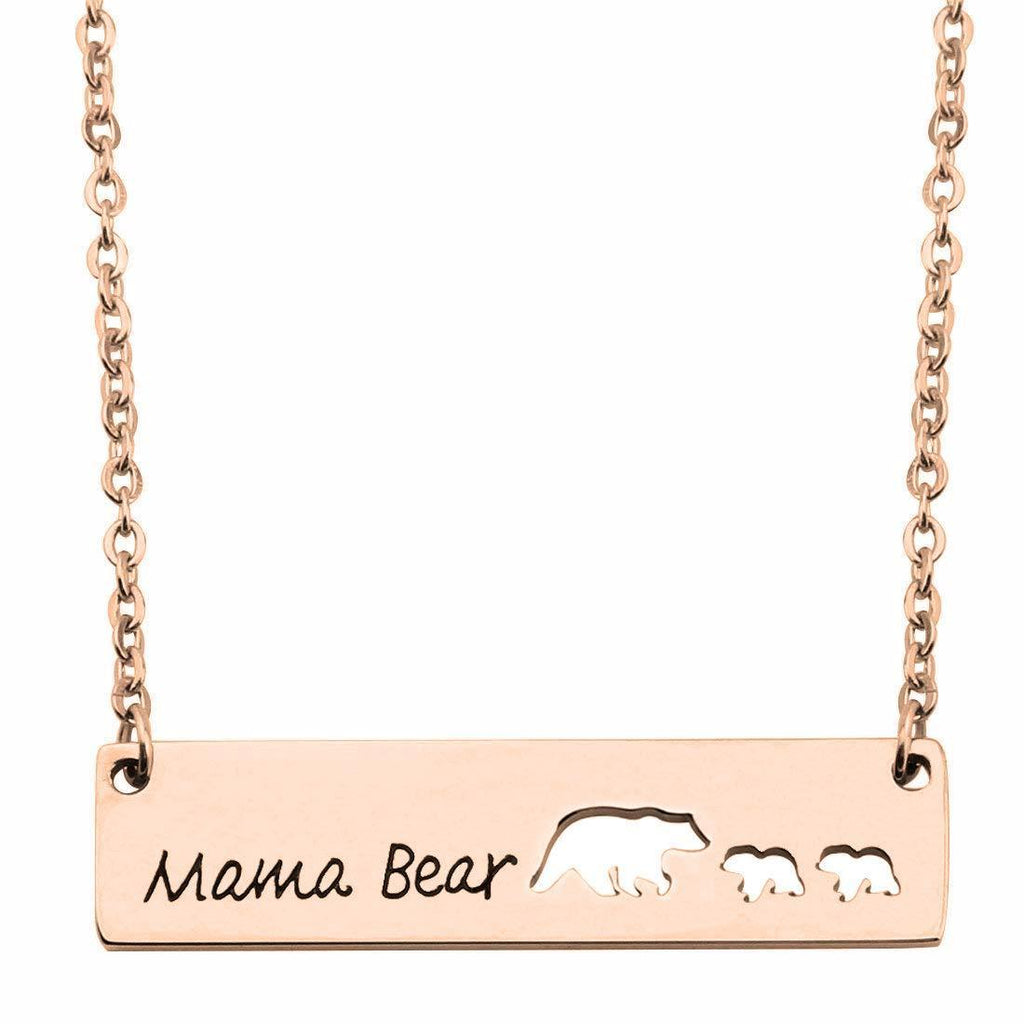 Mama Bear 18k Planting Rose Gold Bar Necklace Gifts for Mother Daughter