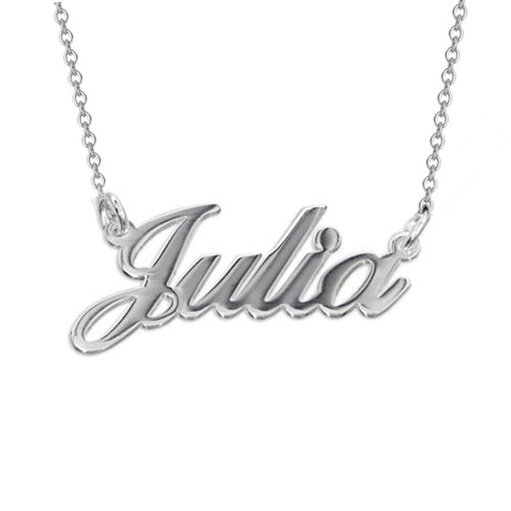 925 Sterling Silver Classic Engraved Name Necklace with Adjustable Chain