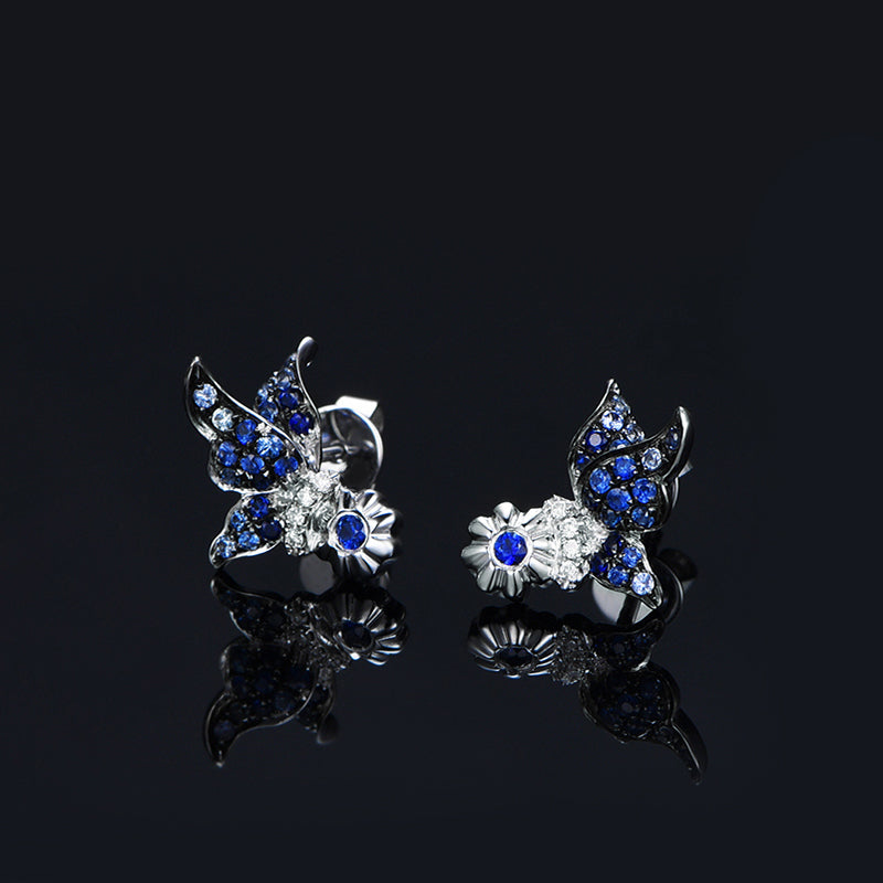 Butterfly Stud Blue Created Sapphire Earrings