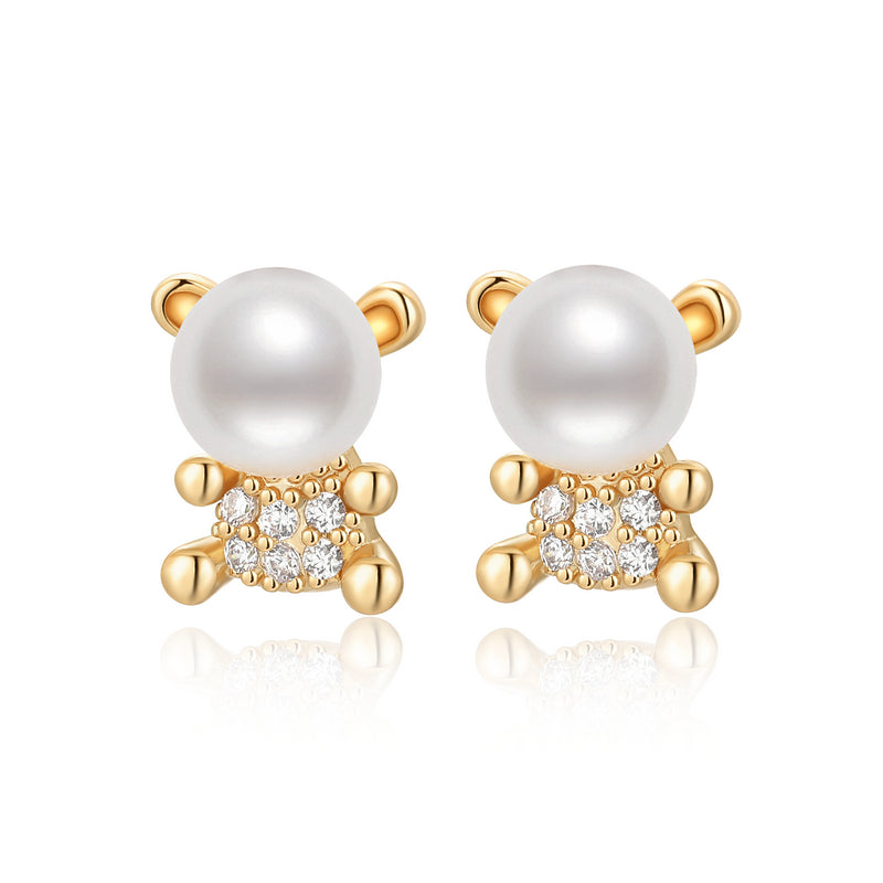 Little Bear Natural Cultured Freshwater Pearl Earring