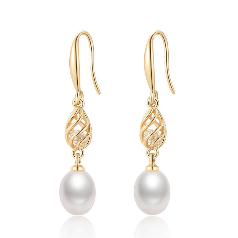 14K Gold Filled Natural Freshwater Pearl Hook Earrings