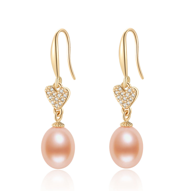 14K Gold Filled Heart Natural Freshwater Pearl Hook Earrings