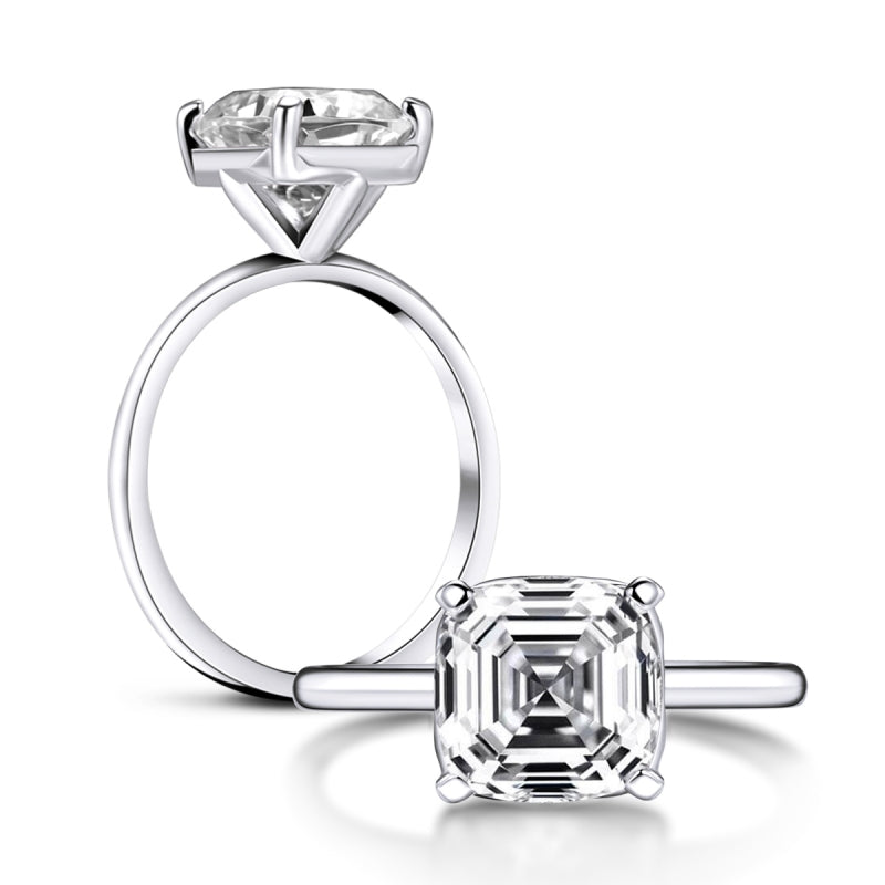 Asscher Created White Diamond Solitaire Ring