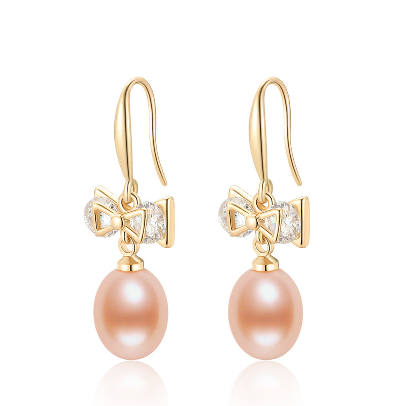 14K Gold Filled Bowknot Natural Freshwater Pearl Hook Earrings