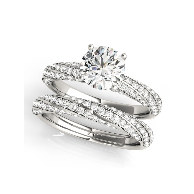 Triple Stripes Created White Diamond Ring Bridal Set