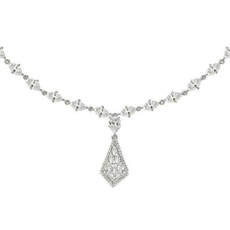 Marquise Cut Created White Diamond Pendant Necklace