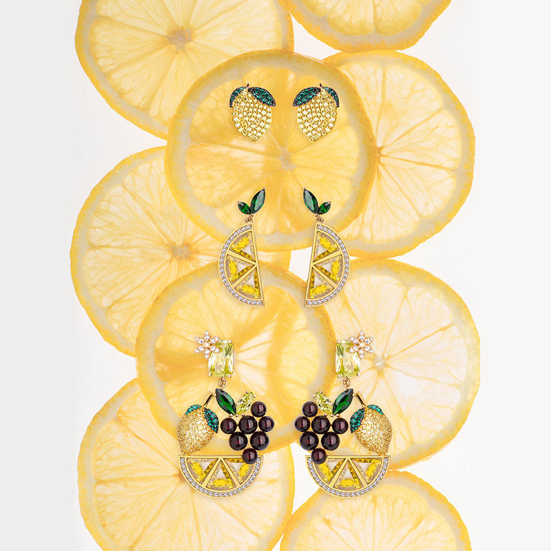 Green and Yellow Created Diamond Lemon Stud Earrings