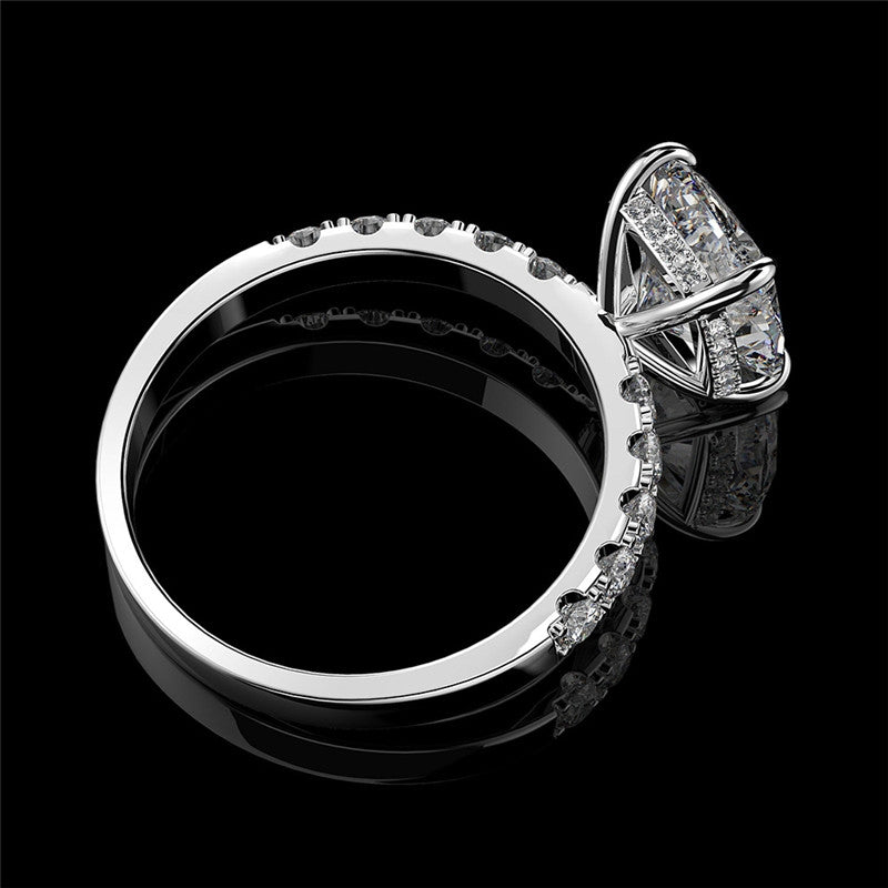 925 Sterling Silver Cushion Cut Created White Diamond Bridal Halo Ring