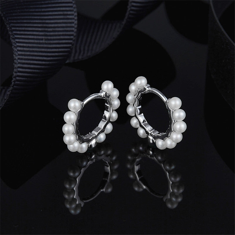 Pearl Sterling Silver Hoop Earrings
