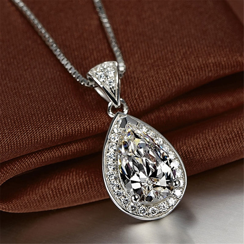 Water Drop Pendant Pear Cut Sterling Silver White Created Diamond Necklace