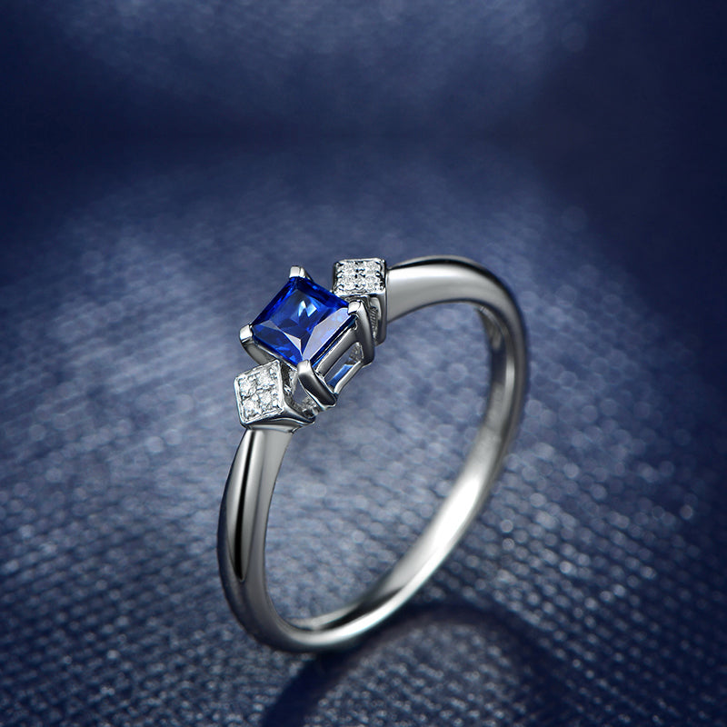3-Stone Princess Cut Created Blue Diamond Rings