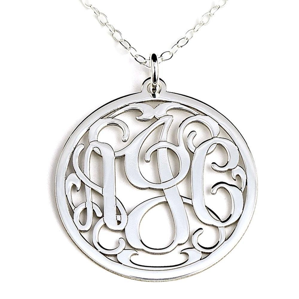 Personalized Round Pendant Monogram Necklace Sterling Silver