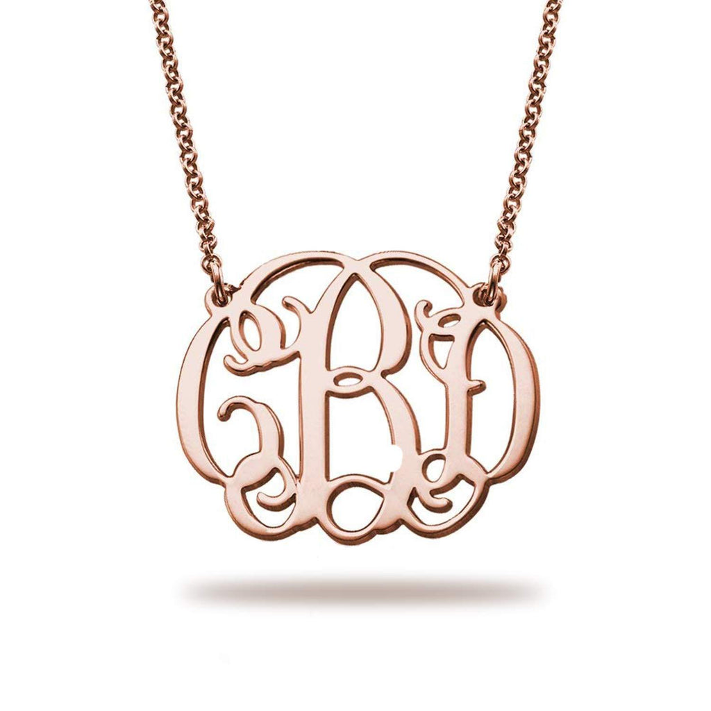 Unique Monogram Necklace 18K Rose Gold Plating Jewelry with Adjustable Chain