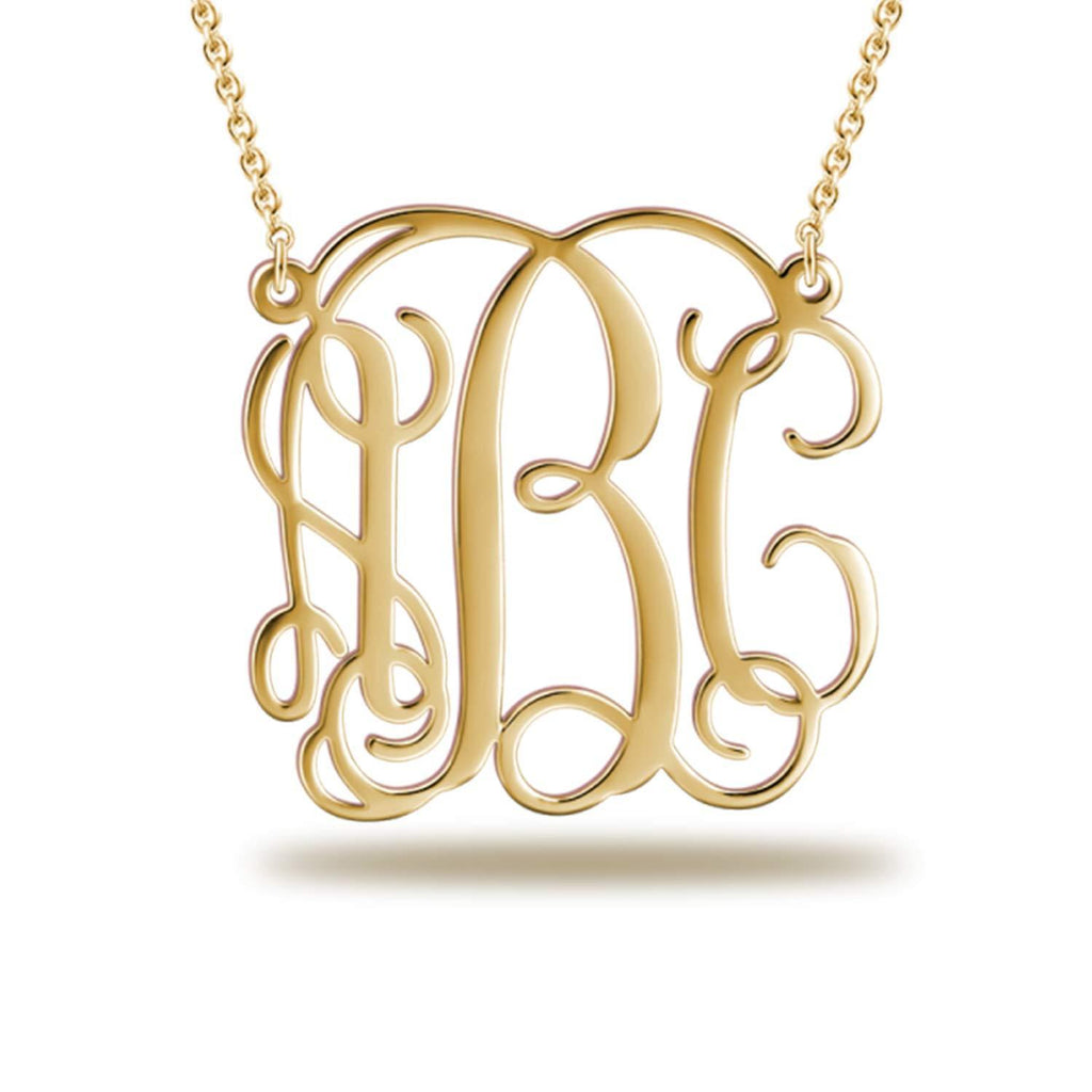 Silver Monogram Necklace Personalized Initial Necklace