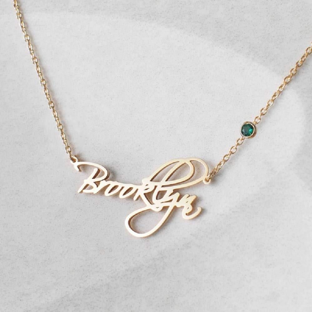Custom Name Necklace with Birthstone 18k Gold plated