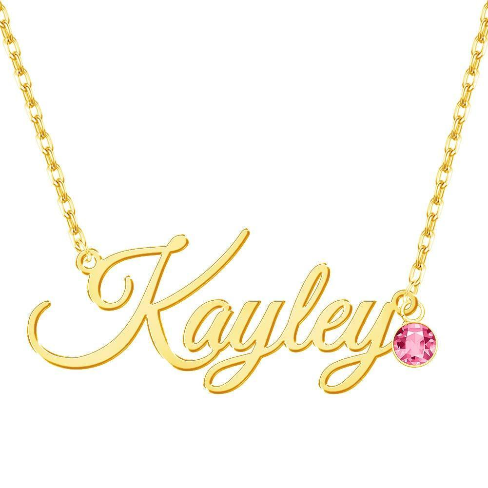 18K Gold Plated Personalized Name Necklace Birthstone Gift for Women