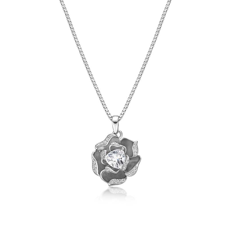 Heart shaped flower Created White Diamond Pendant Necklace
