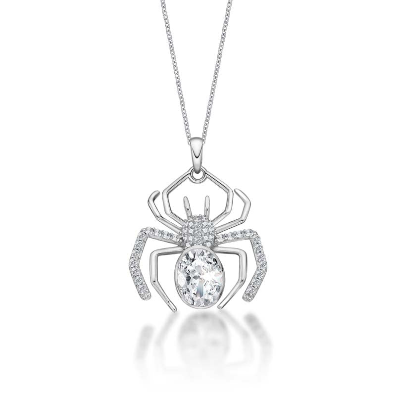 Ice Out Spider Created White Diamond Animal Pendant