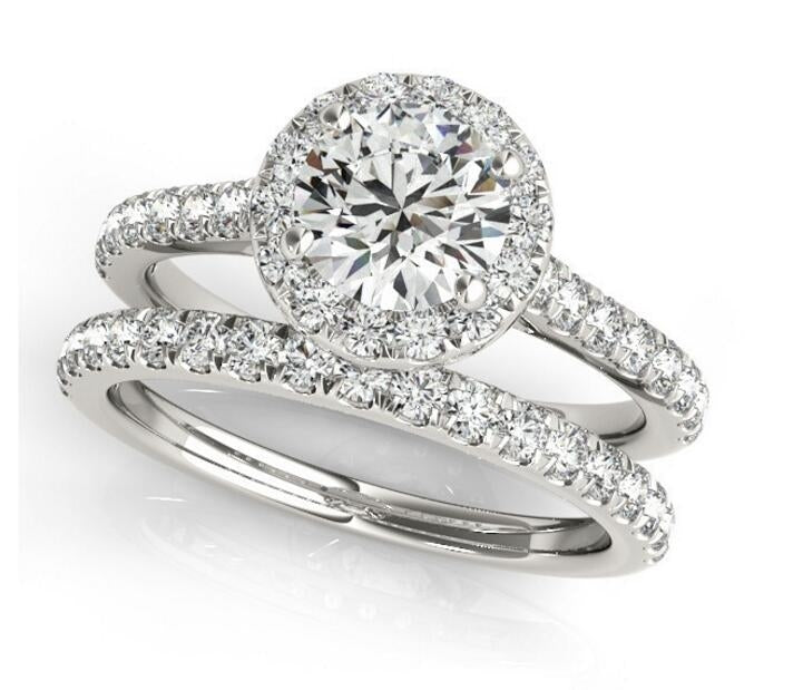 Half Eternity Halo Round Created Diamond Bridal Set Ring