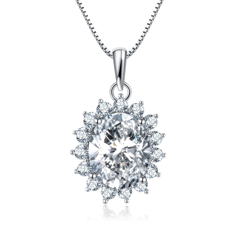 Shiny 925 Sterling Silver Oval Created White Diamond Pendant Necklace