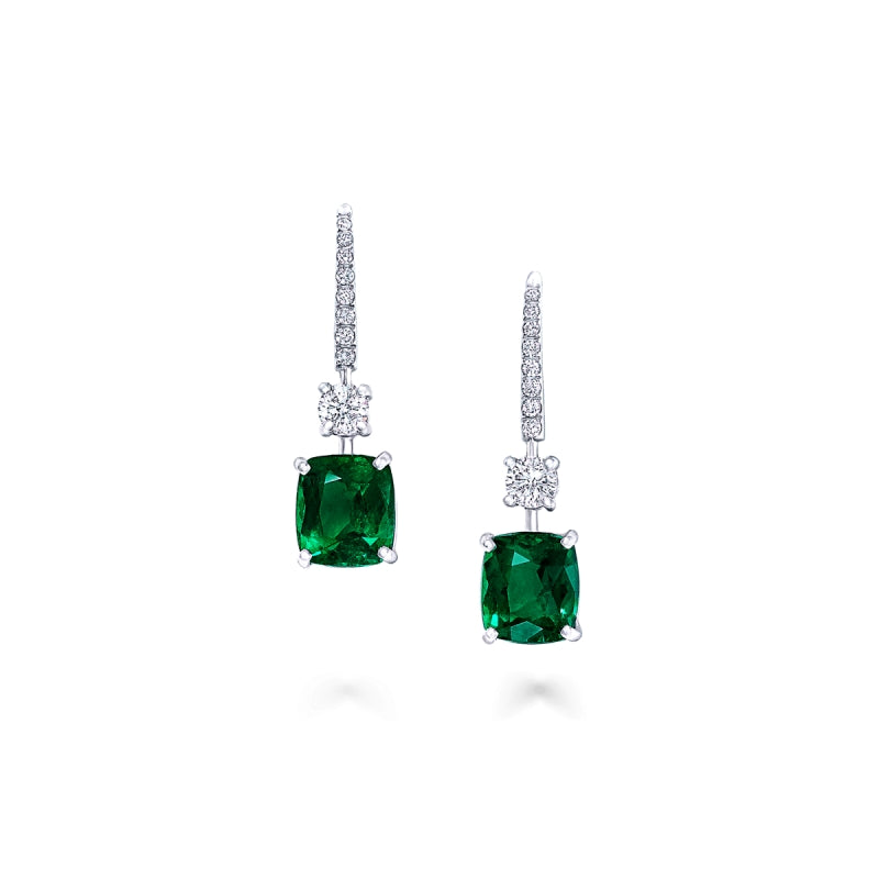 Classic Cushion Created Green Diamond Hook Earrings