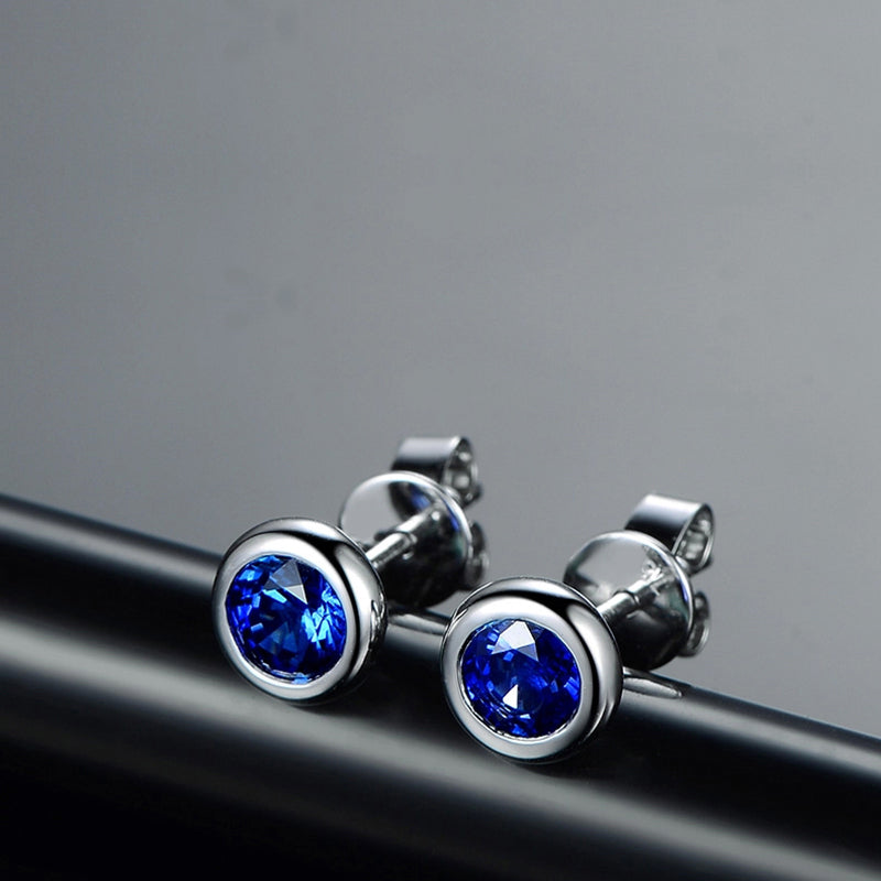 Sterling Silver Round Created Blue Diamond Stud Earrings