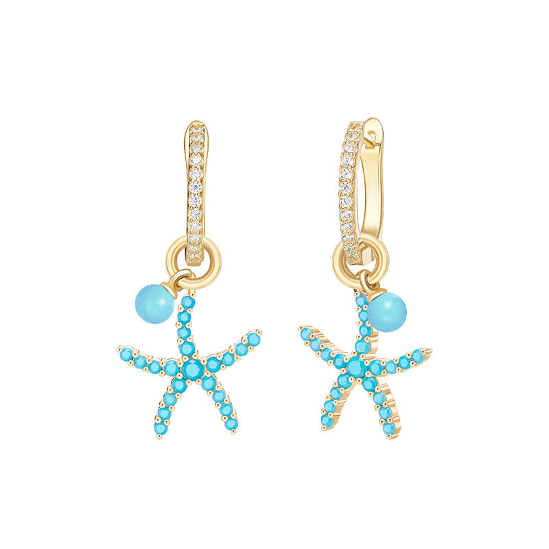 Yellow Gold Color Created Diamond Starfish Hopp Earrings