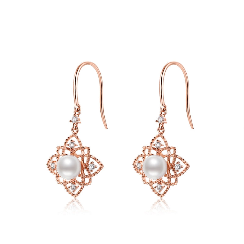 18K Rose Gold Real Diamond Akoya Pearl Flower Hook Earring