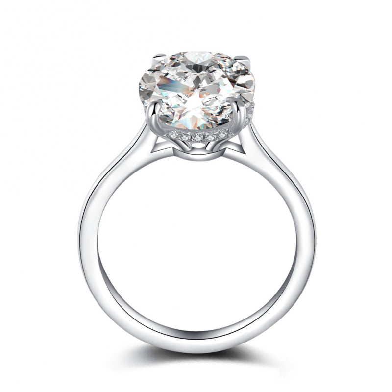 Hidden Halo Oval Created White Diamond Solitaire Ring