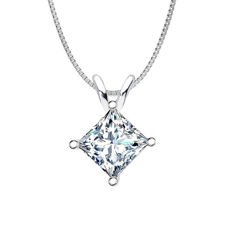 Classic Sterling silver Princess Cut Created White Diamond Pendant Necklace