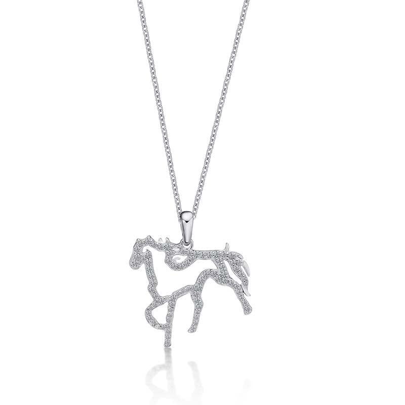 Little Horse Created White Dimaond Animal Pendant