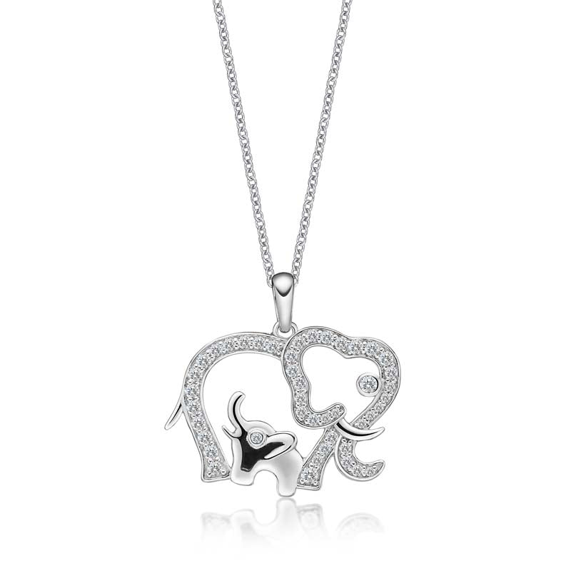 Hollow Elephant Created White Diamond Animal Pendant