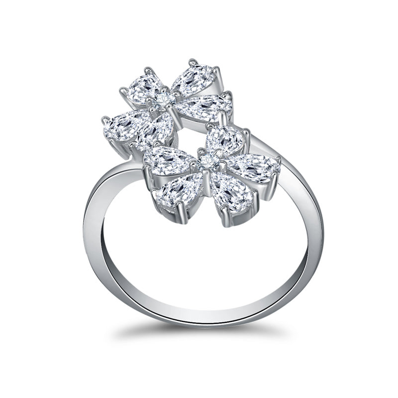 Double Flowers Pear Created White Diamond Open Ring