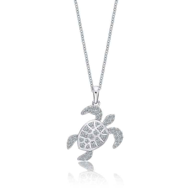 Ice Out Turtle Created White Diamond Pendant