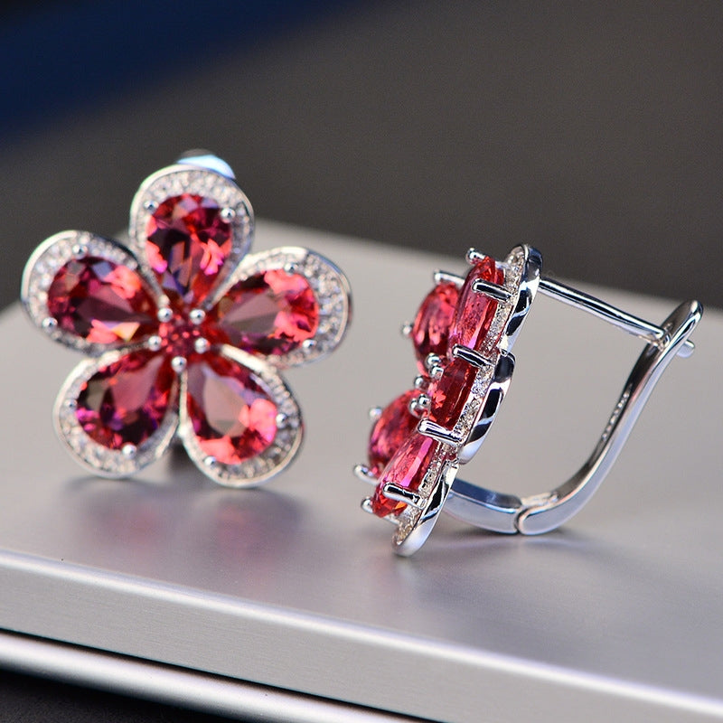 Pear Shaped Red Created Daimond Flower Clip Earrings