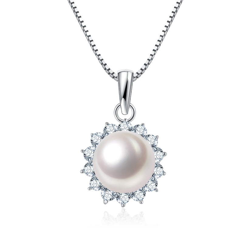 925 Sterling Silver Pearl Created White Diamond Pendant Necklace