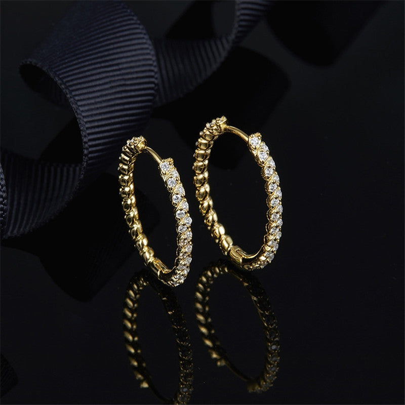Gold Tone Created Diamond Hoop Earrings