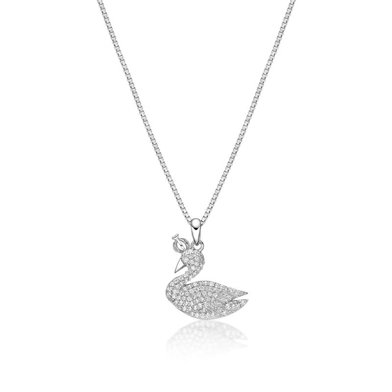 Swan Created White Diamond Pendant Necklace
