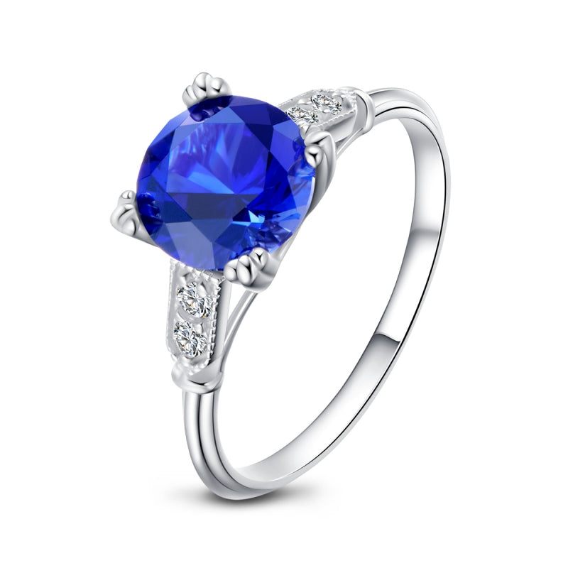 Round Created Blue Diamond Ring