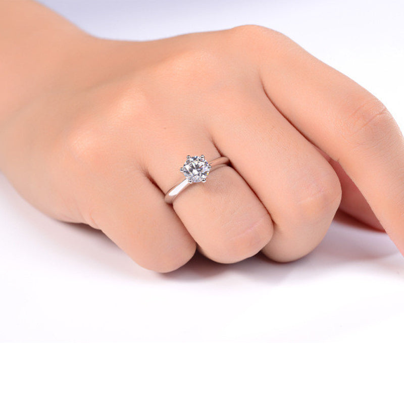 3CT Six Prong Created White Diamond Solitaire Ring