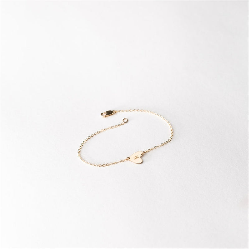 Yellow Gold Asymmetrical Heart Link Bracelet