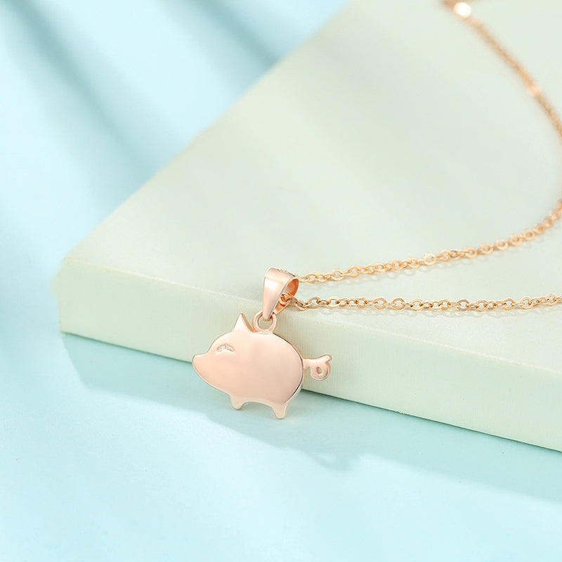 Animal Pendant Rose Gold Plated Sterling Silver Necklace