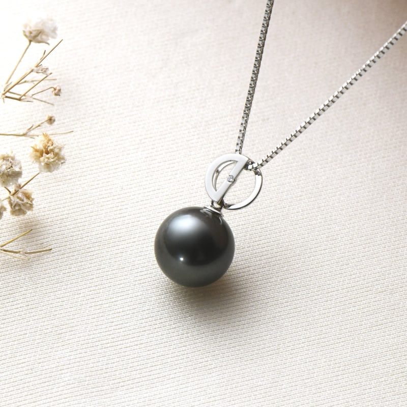 Double D 18K Gold Black Tahitian Pearl Pendant with 18'' Chain(Sterling Silver)