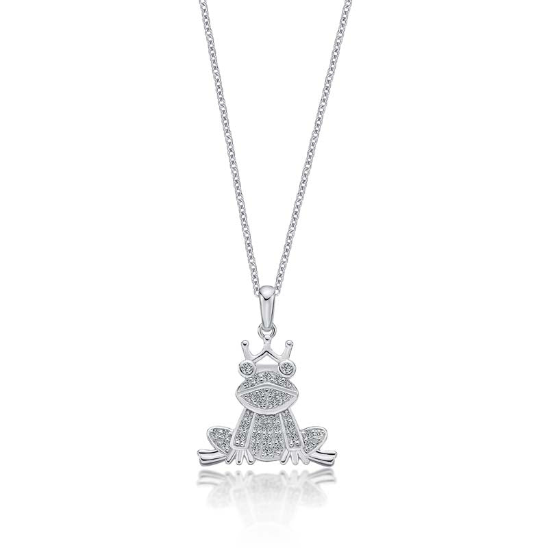 Ice Out Frog Created White Diamond Animal Pendant