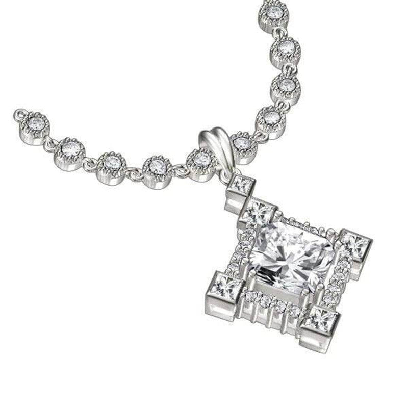 Halo Princess Cut Created White Diamond Pendant Necklace