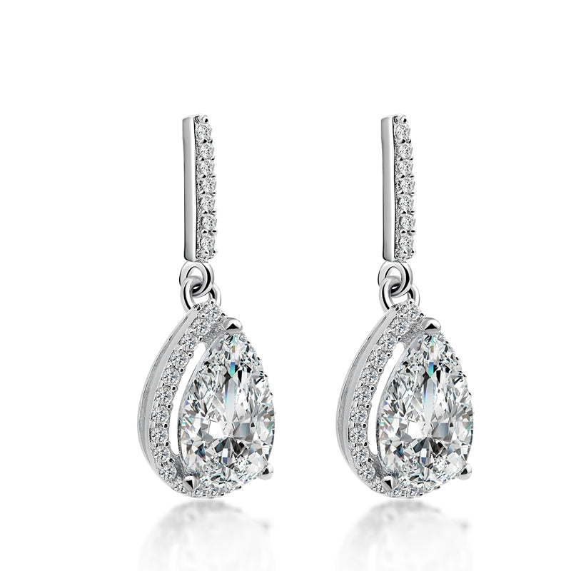 Pear Cut Created Diamond Drop Earring