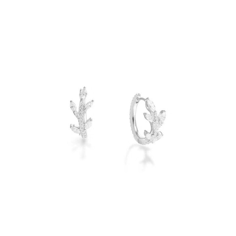 Tree Branch Huggie Hoop Earrings Created White Diamond Sterling Silver Cuff Earrings