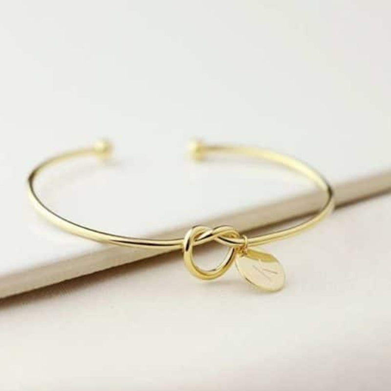 Love Knot Bangle Letter Cuffs Stretch Bracelets