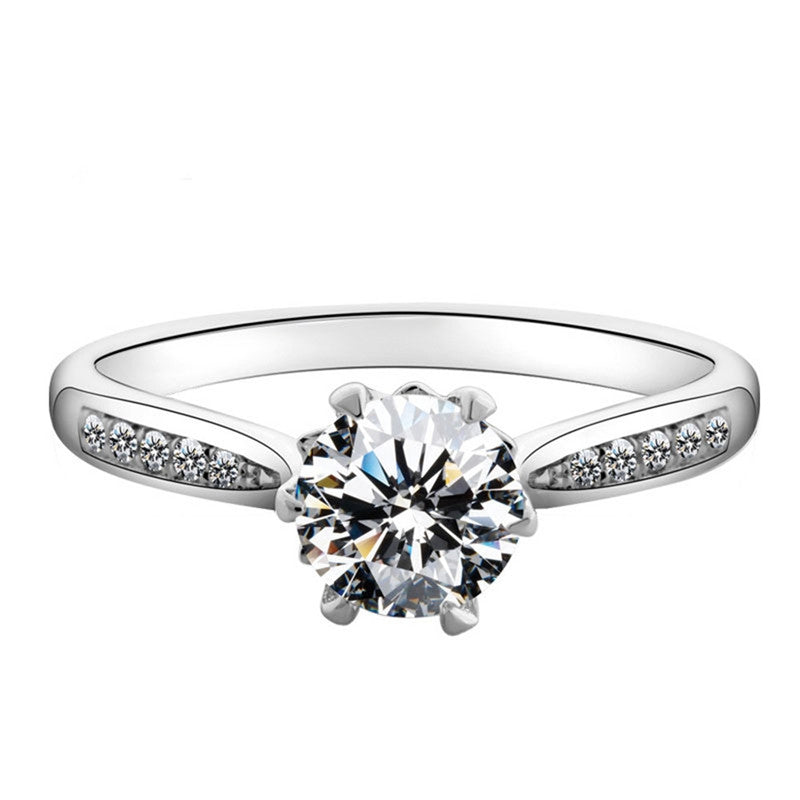 1.9ct Classic Sterling Silver Round Cut Created White Diamond Bridal Halo Ring