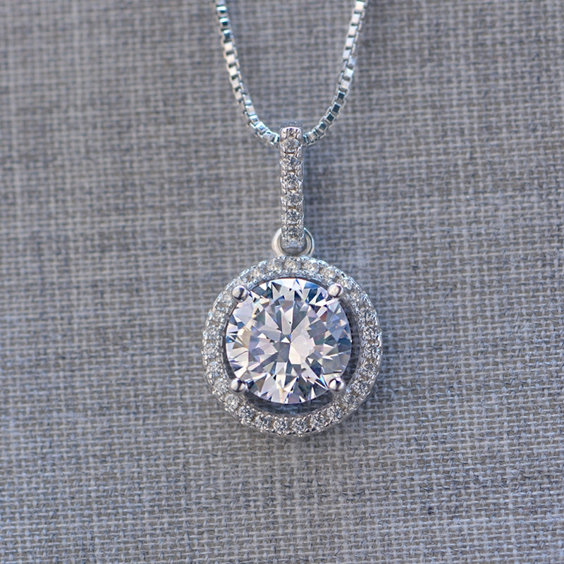 Round Pendant Sterling Silver White Created Diamond Necklace
